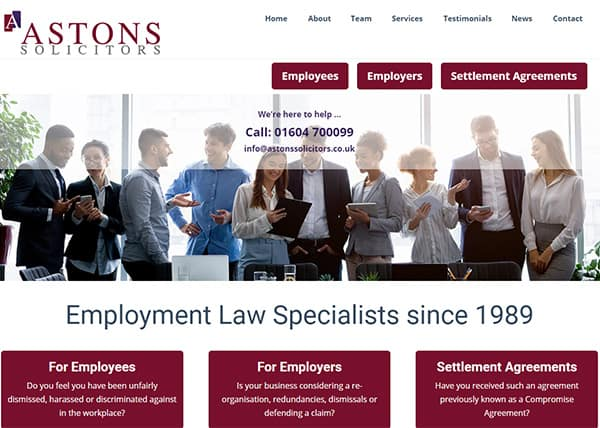 Solicitors Web Design Astons Northampton